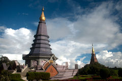Large pagoda on top of mountain . Stock Photo