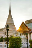 A large pagoda in Wat Pathum Wanaram. The large white pagoda was built in Wat Prathum Wanaram Stock Photography