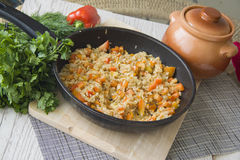 Large pan of stuffed rice Stock Image