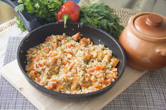 Large pan of stuffed rice Royalty Free Stock Photos