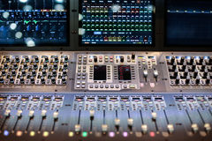 Large panel of the stage controller with screens Royalty Free Stock Photography