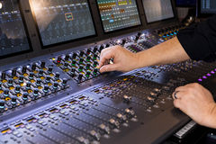Large panel of the stage controller with screens Royalty Free Stock Images