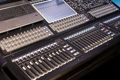 Large panel of the stage controller with screens Stock Photography