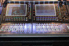 Large panel of the stage controller with screens Stock Images