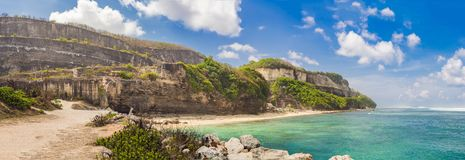 Large panorama, Banner, long format Beautiful Melasti Beach with turquoise water, Bali Island Indonesia.  stock images
