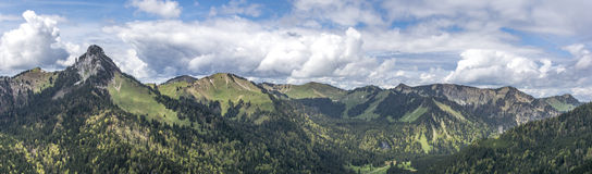 Large panorama of Bavarian mountains Stock Photography