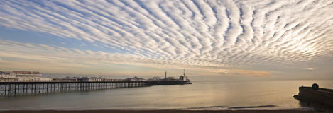 Large panorama Brighton England Pier at sunset Stock Photography