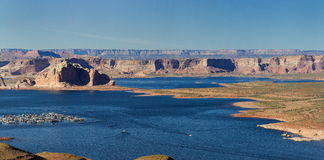 Large panorama of canyons and a lake on a clear sky day in Arizona, US Royalty Free Stock Images
