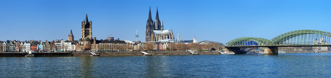 Large panorama of Cologne, Germany Royalty Free Stock Images