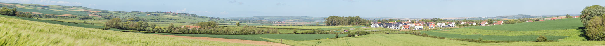 Large panorama of the countryside near Wimereux stock images
