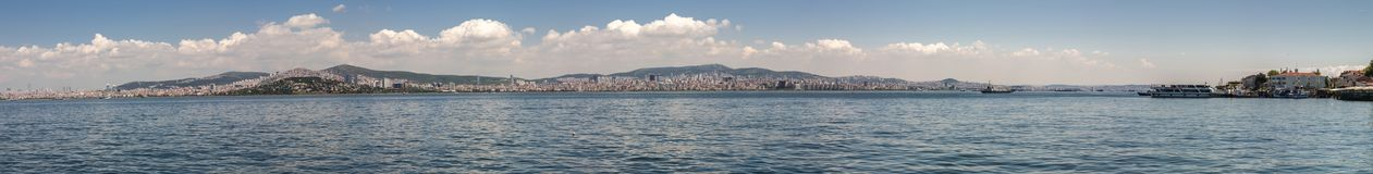 A large panorama of the Istanbul Embankment. Istanbul, Turkey royalty free stock images