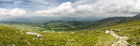 Large panorama landscape of Snowdonia National Park from Cadair Stock Photo