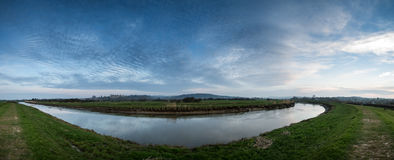 Large panorama landscape sunrise over countryside with medieval Stock Image