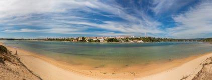 Large panorama of Portuguese maritime village Milfontes. Alentejo. stock photo