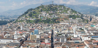 Large panorama of Quito with the Panecillo, Ecuador Stock Image