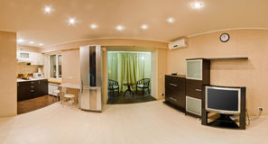 Large panorama room, studio apartment Royalty Free Stock Images