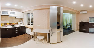 Large panorama room, studio apartment Royalty Free Stock Photo
