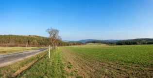 Large panorama of rural landscape in the Czech Republic. The landscape around Tisnov. Stock Photos