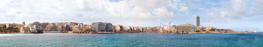 Large panorama of Saint Julians Bay in Malta. Royalty Free Stock Photography