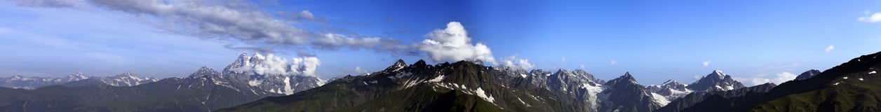 Large panorama of summer mountains Stock Images