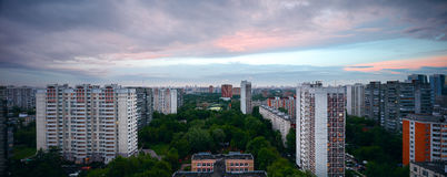 Large panorama Sunset over the city Moscow Russia Stock Photography