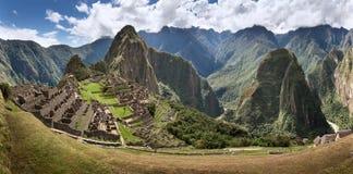 Large panoramic photo of Machu Picchu and Urubamba Valley, Peru XXL royalty free stock image