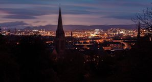 Large Panoramic picture of Glasgow city at night stock photography