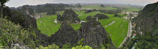 Large panoramic picture with Tam Coc National Park Stock Photography