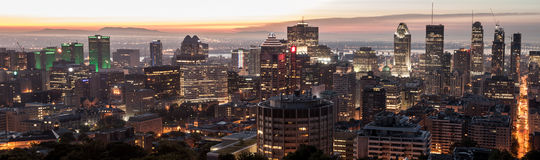 Large panoramic skyline view over Montreal Stock Images
