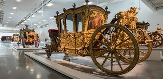 Large panoramic view of Ceremonial Vehicle, Netherlands. 1708. National Coach Museum in Lisbon stock images