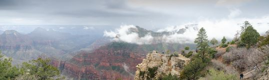 Large panoramic view on Grand Canyon under heavy fog stock photo