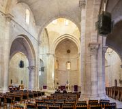 large panoramic view on interior of Lutheran Church of the Redeemer in Jerusalem stock images