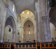 large panoramic view on interior of Lutheran Church of the Redeemer in Jerusalem royalty free stock photography