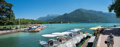 Large panoramic view of Lake Annecy at Haute-Savoie department. France stock image