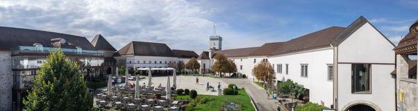 Large panoramic view of Ljubljana castle inside royalty free stock image