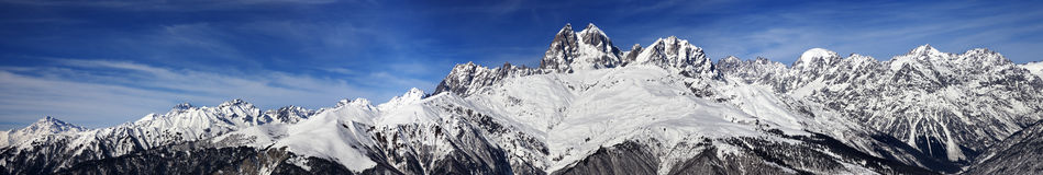Large panoramic view on Mount Ushba at sunny day Royalty Free Stock Photography
