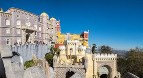 Free Large Panoramic View Of Pena Palace (Portuguese: Palacio Da Pena) Is A Romanticist Castle In The Municipality Of Sintra, Portugal Royalty Free Stock Photography - 140870917