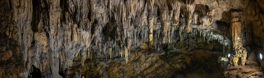Large panoramic view on stalactites and stalagmites at the Caves of Barac in the municipality of Rakovica. Croatia stock image