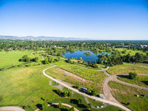 Large park. Aerial view of Belmar Park in Lakewood Colorado stock photos