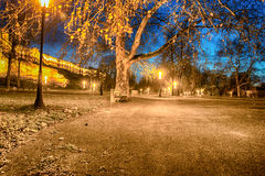 Large park near the old fort at night Stock Images