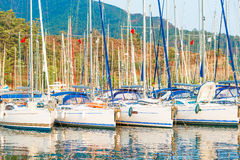 Large parking area for sailing vessels in the port city Royalty Free Stock Photography