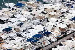 Large parking boats at sea Stock Image
