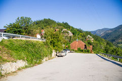 Large parking in Kusturica Drvengrad in Serbia stock photography