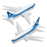Large passenger Airplane 3d isometric illustration. Airplane freight. Flat 3d vector isometric high quality transport  Stock Image