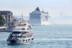 Large passenger liners in harbor at sunny summer day Stock Photo