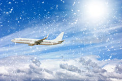 Large passenger plane  in  blue sky Stock Photography