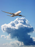Large passenger plane  in  blue sky Royalty Free Stock Photo