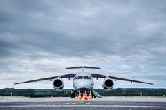 Large passenger plane on the taxiway at the airport stock photography