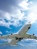 Large passenger planes  in  blue sky Stock Photography