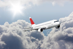Large passenger planes  in  blue sky. Postcard Royalty Free Stock Image